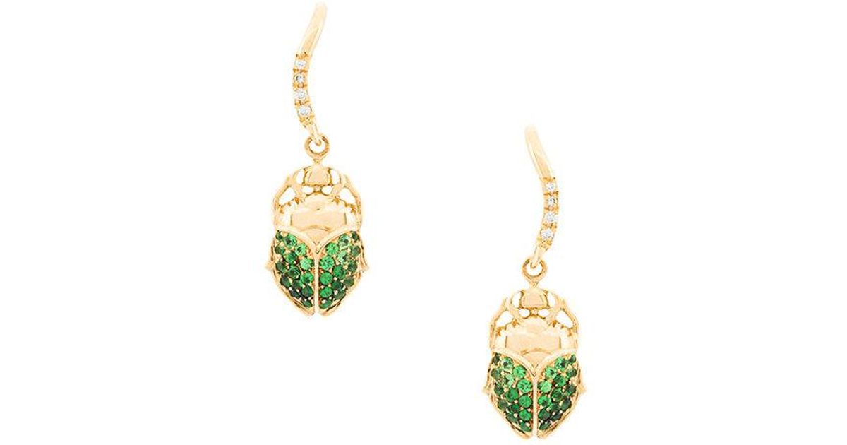 Aurélie Bidermann mini Scarab tsavorite and diamond earring - Metallic YIb8X