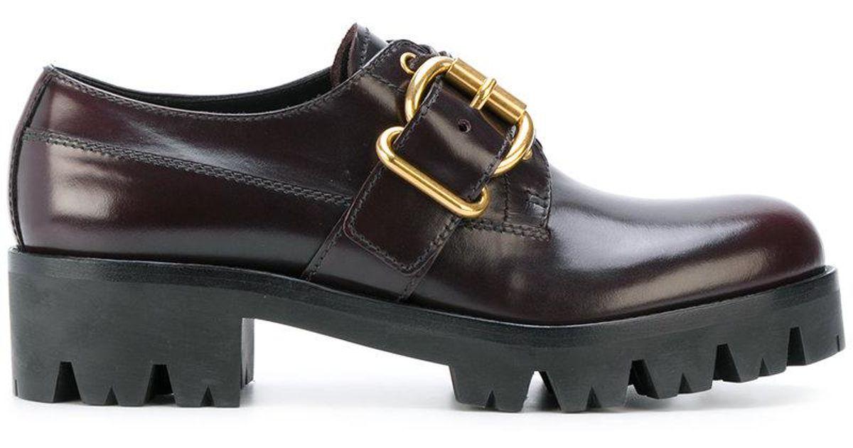 Chaussures Ttaoqaiwrn Crantée Semelle Prada En À Rouge Lyst Coloris vTcqp