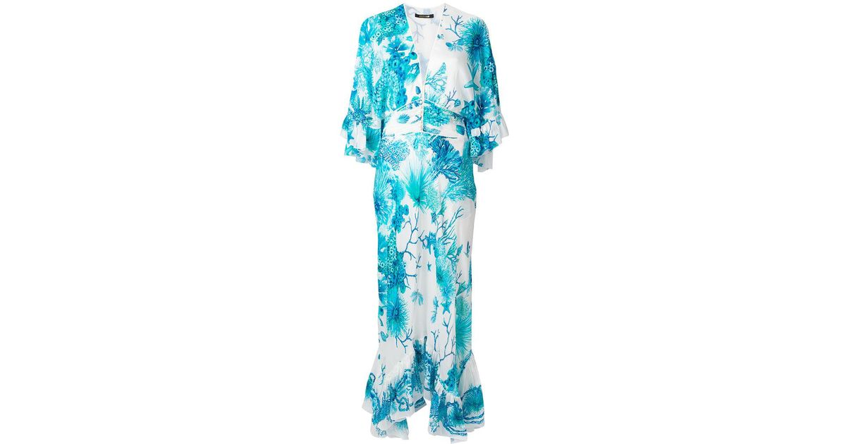 long floral shift dress - Blue Roberto Cavalli Official Cheap Price Lowest Price Cheap Online Many Kinds Of Many Styles Clearance Manchester Great Sale neSVC