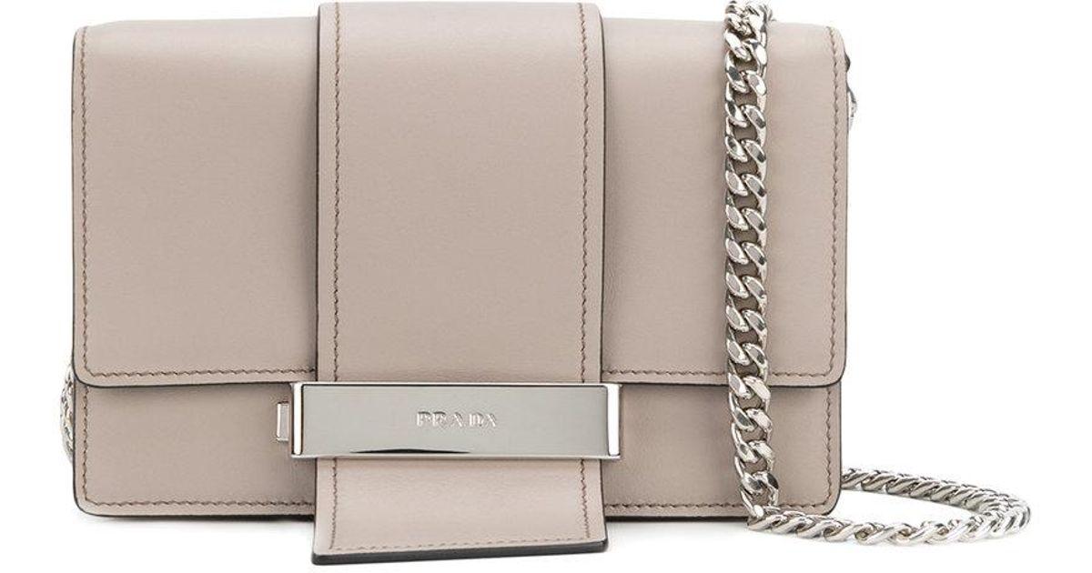 0583a434e152 Lyst - Prada Metal Ribbon Shoulder Bag in Gray