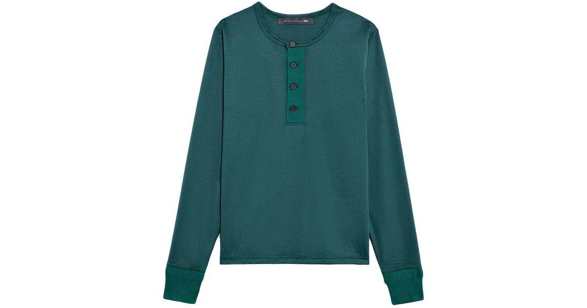 2aa5fa76210 Mackintosh Green Cotton 0003 Henley Shirt in Green for Men - Lyst