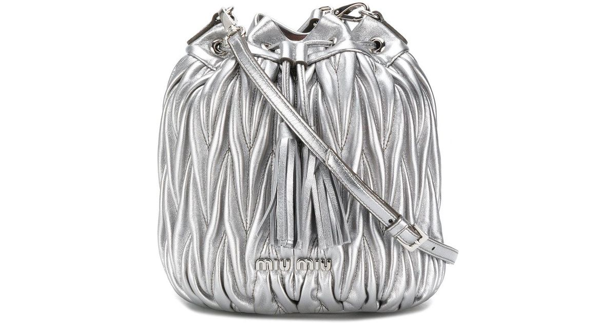 Lyst - Miu Miu Matelassé Bucket Bag in Metallic 0c869f31e219