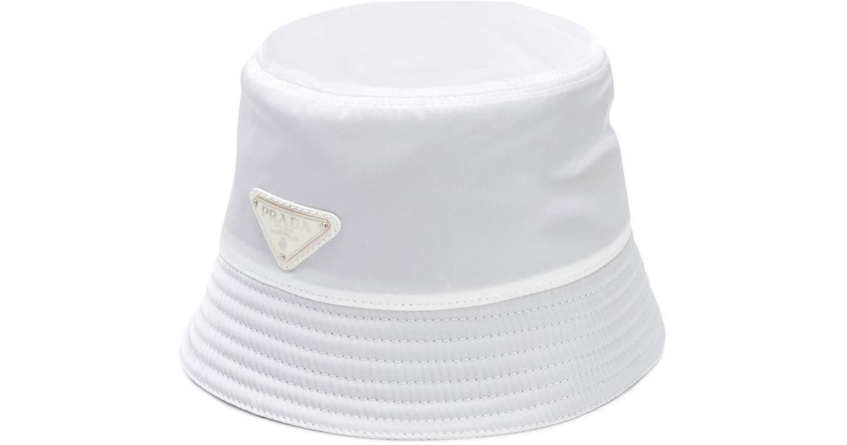 5e404abbf6a Lyst - Prada Logo Bucket Hat in White for Men