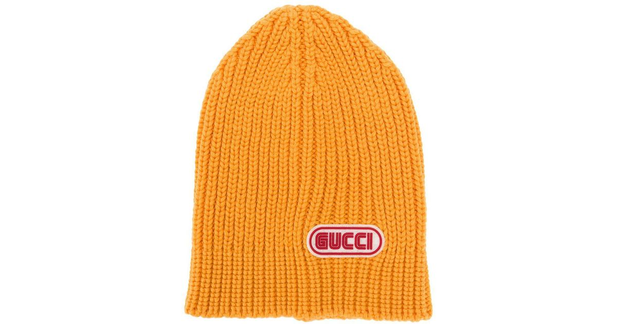 Lyst - Gucci Logo Patch Beanie in Yellow for Men 5b113f4abb2d