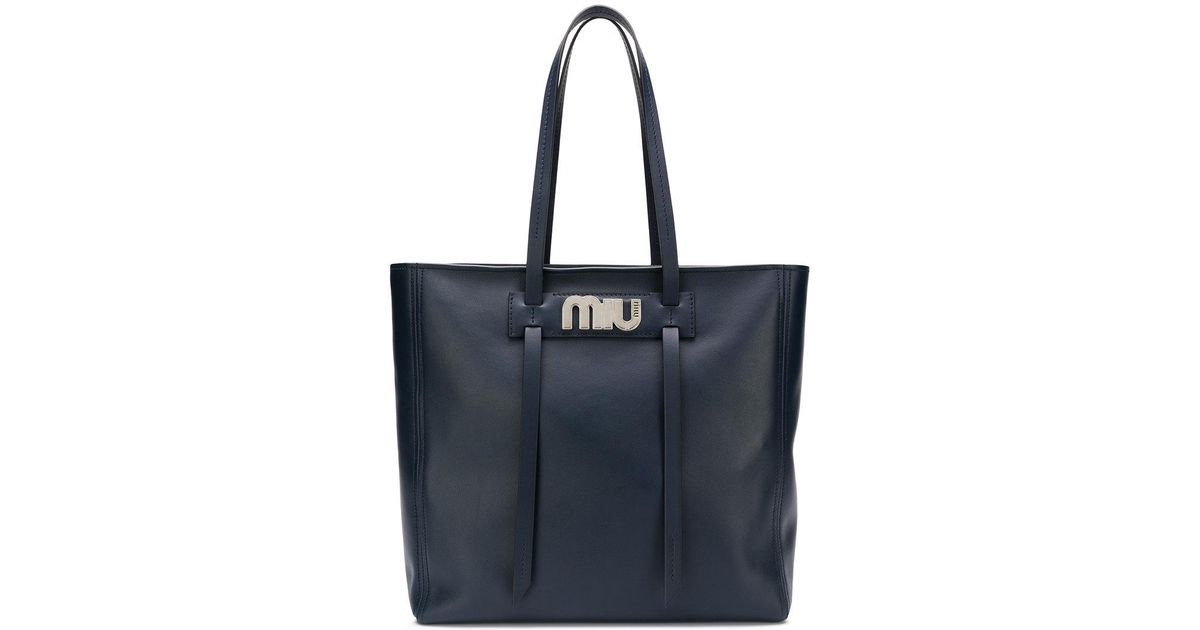 708c083d600e Lyst - Miu Miu Logo Plaque Shopper Tote in Blue