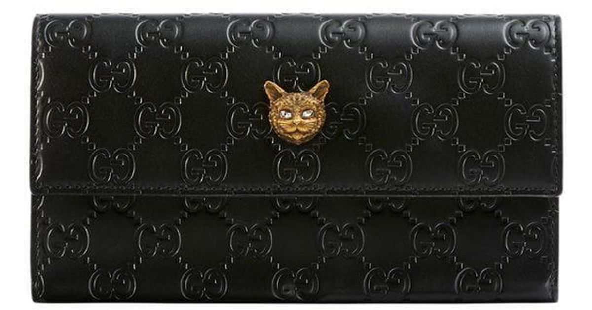 803f32bc08a7 Gucci Signature Continental Wallet With Cat in Black - Lyst