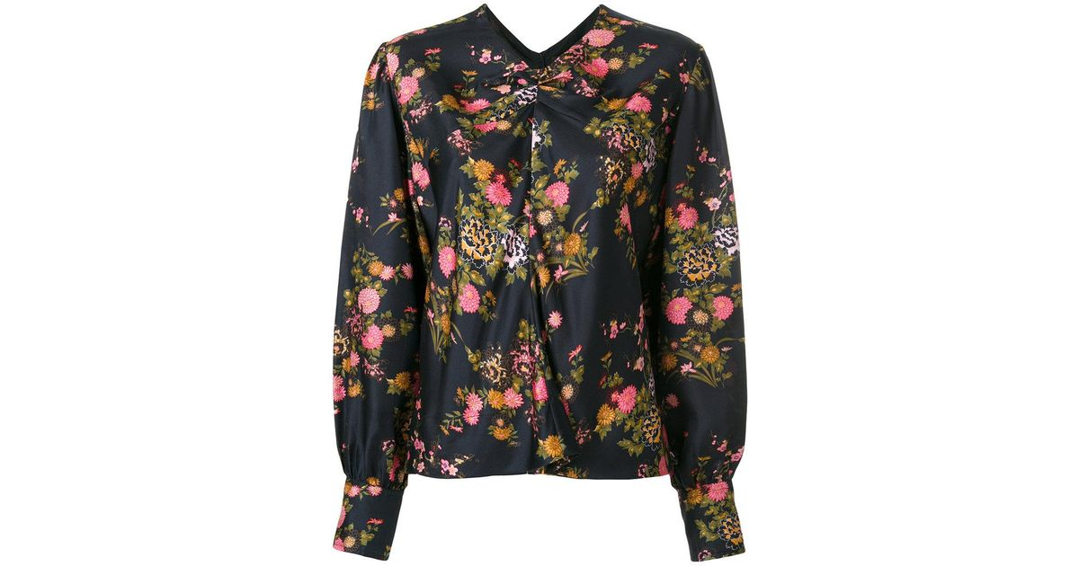 7864fde7ae8452 Lyst - Isabel Marant Floral Print Rusak Blouse in Black
