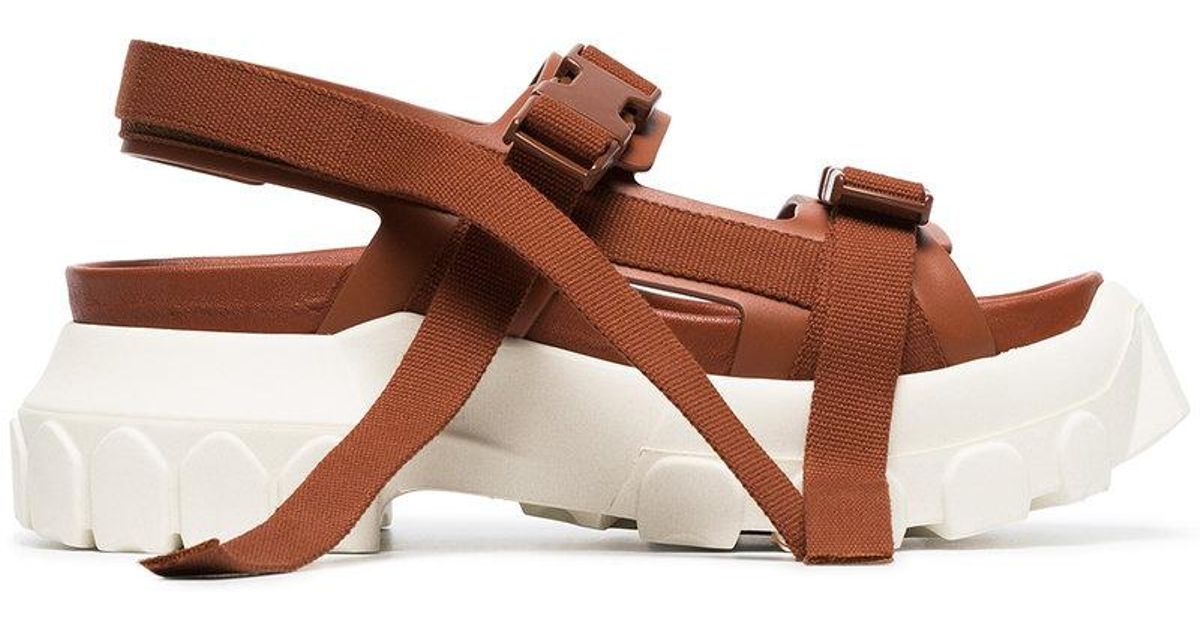 21d2aa16a294 Lyst - Rick Owens Brown Sisyphus Leather Hiking Sandals in Brown