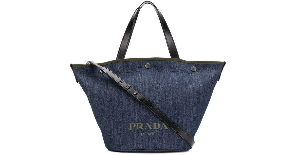 6bfc13b548e4 Lyst - Prada Denim Shopping Tote in Blue - Save 10%