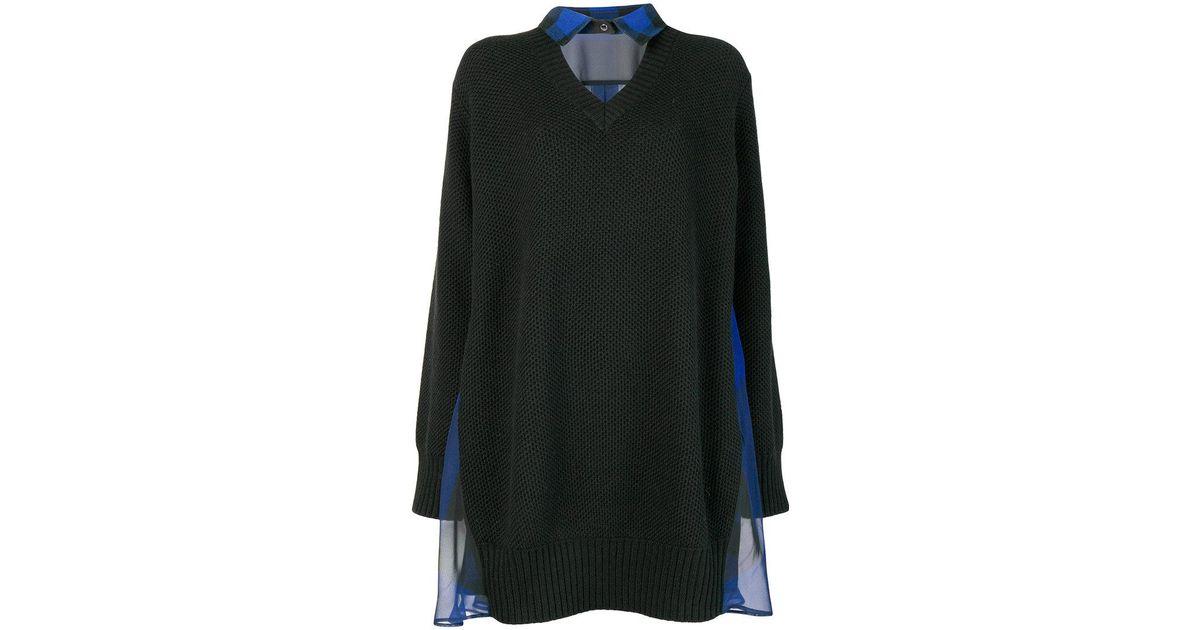 18559cb217 Lyst - Sacai Collar Sweater Dress in Black