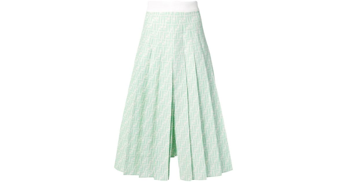 8d331533885711 Fendi Ff Midi Skirt in Green - Lyst