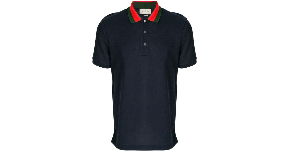 b61ab6fe7c4be6 Lyst - Gucci Embroidered Appliqué Polo Shirt in Blue for Men