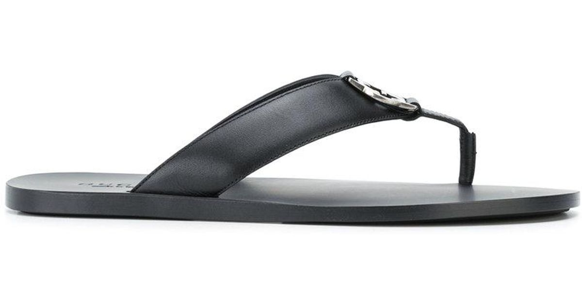 49242ed760a65e Lyst - Gucci Logo Plaque Thong Sandals in Black for Men