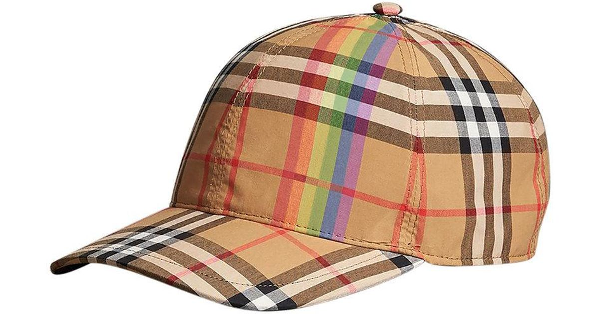 b23c2929 Burberry Rainbow Vintage Check Baseball Cap in Brown - Lyst