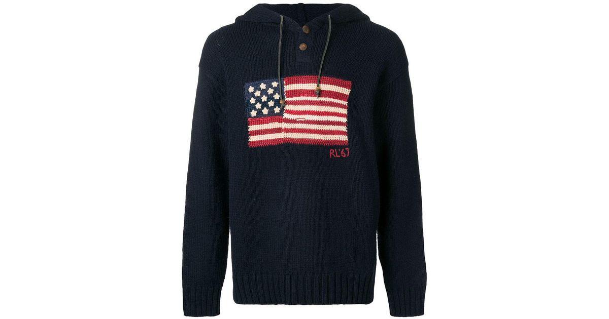 Polo Lyst Wool For Blue Men Jumper Ralph Flag Blend Lauren Hooded CBodxe