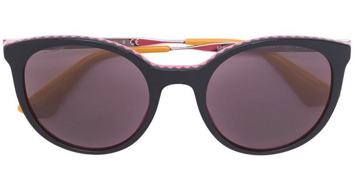 5f3f2e933851 Prada Zig-zag Detail Oversized Sunglasses - Lyst