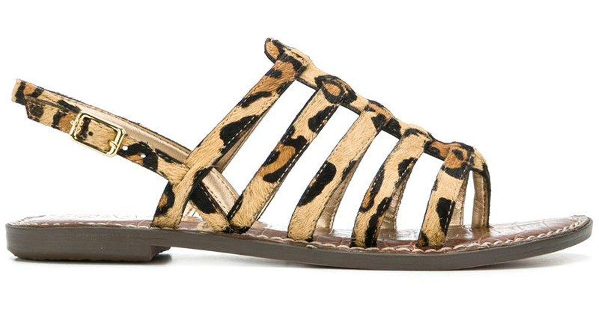 9eb0de54c Lyst - Sam Edelman Strappy Leopard Print Sandals in Brown