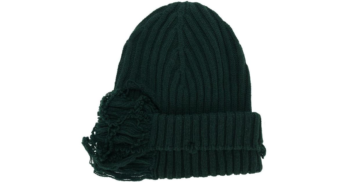 bc54b53b57d Lyst - Maison Margiela Distressed Ribbed Knit Beanie in Green for Men