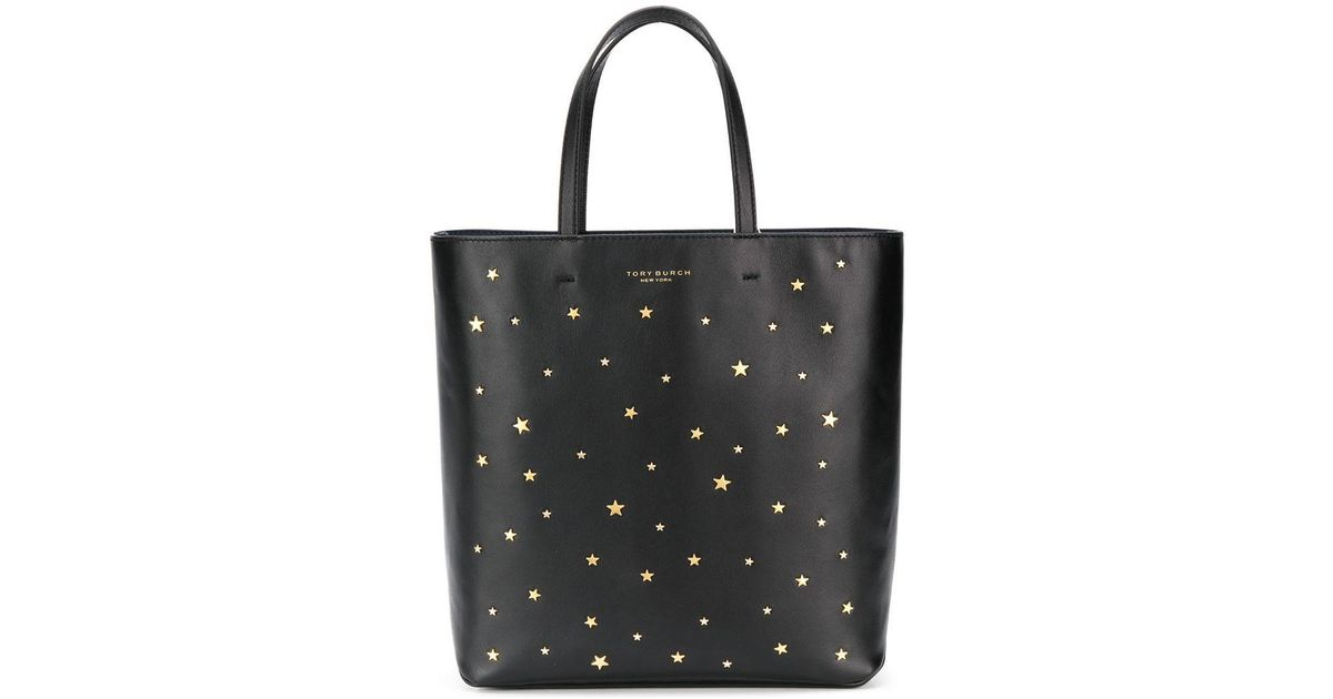e9fea6121fe3 Lyst - Tory Burch Star-stud Tote in Black
