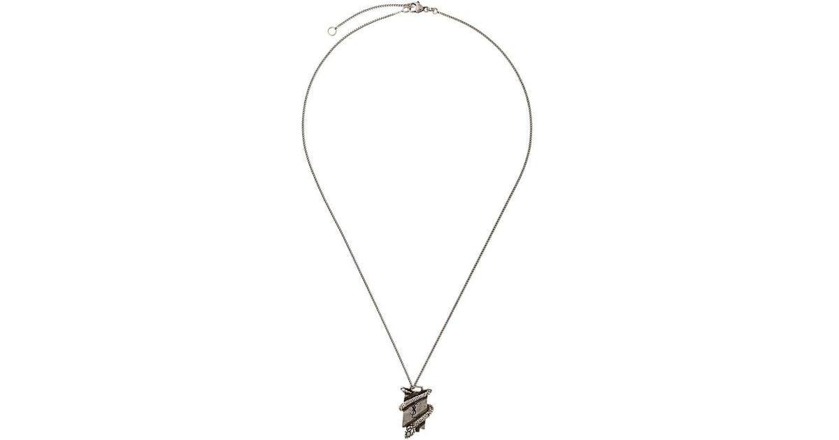 e090cf58f8a Saint Laurent Ysl Serpent Plaque Necklace in Metallic - Lyst