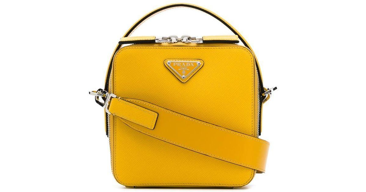 6587a932ffea Prada Logo Shoulder Bag in Yellow for Men - Lyst
