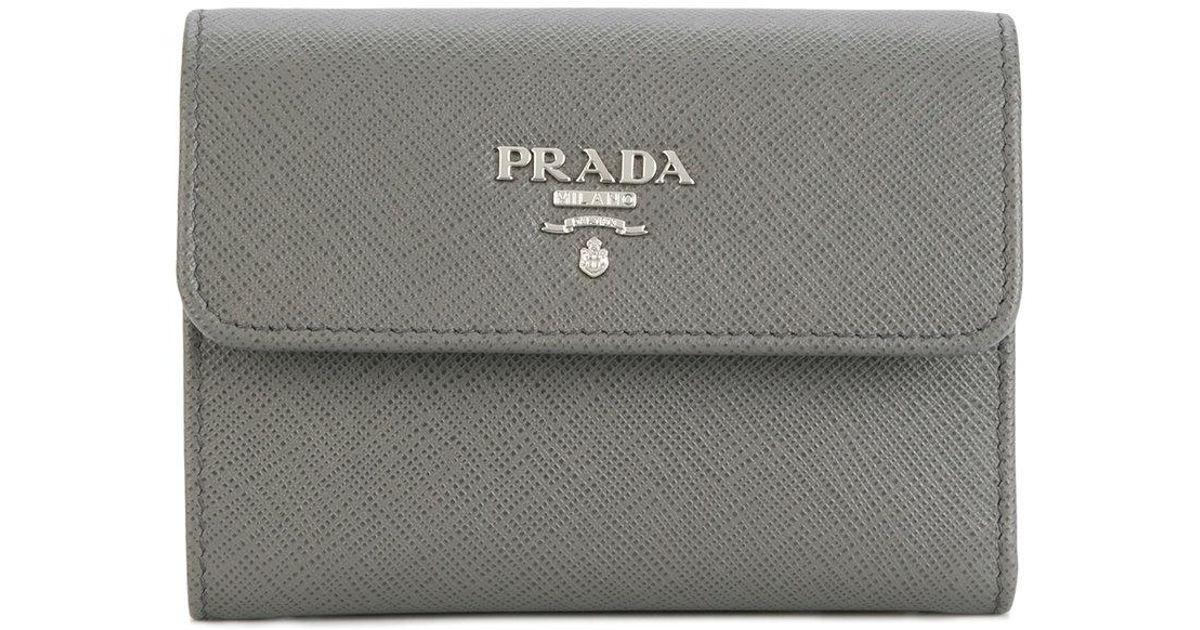 ff6fbfadd9b8 ... order lyst prada saffiano tri fold wallet in gray fef17 eeb0d