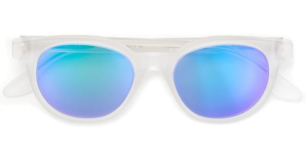 Riviera Lunettes De Soleil Mates Flash Cristal - Superfuture Rétro Blanc dcuNv7s