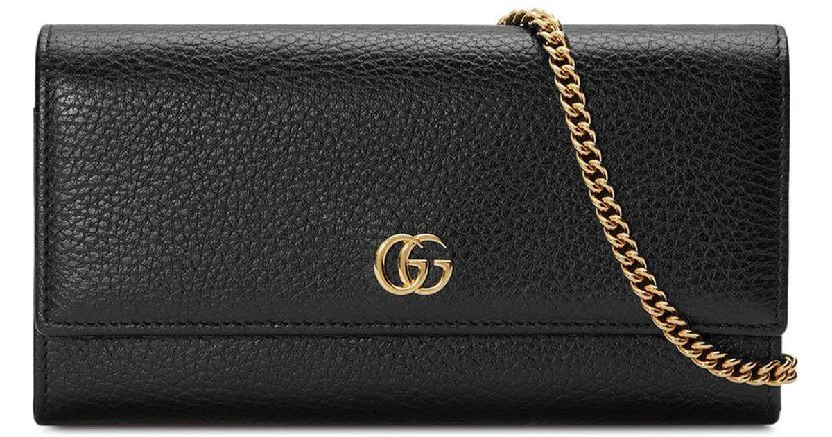 23272c1aa3b379 Gucci GG Marmont Leather Chain Wallet in Black - Lyst