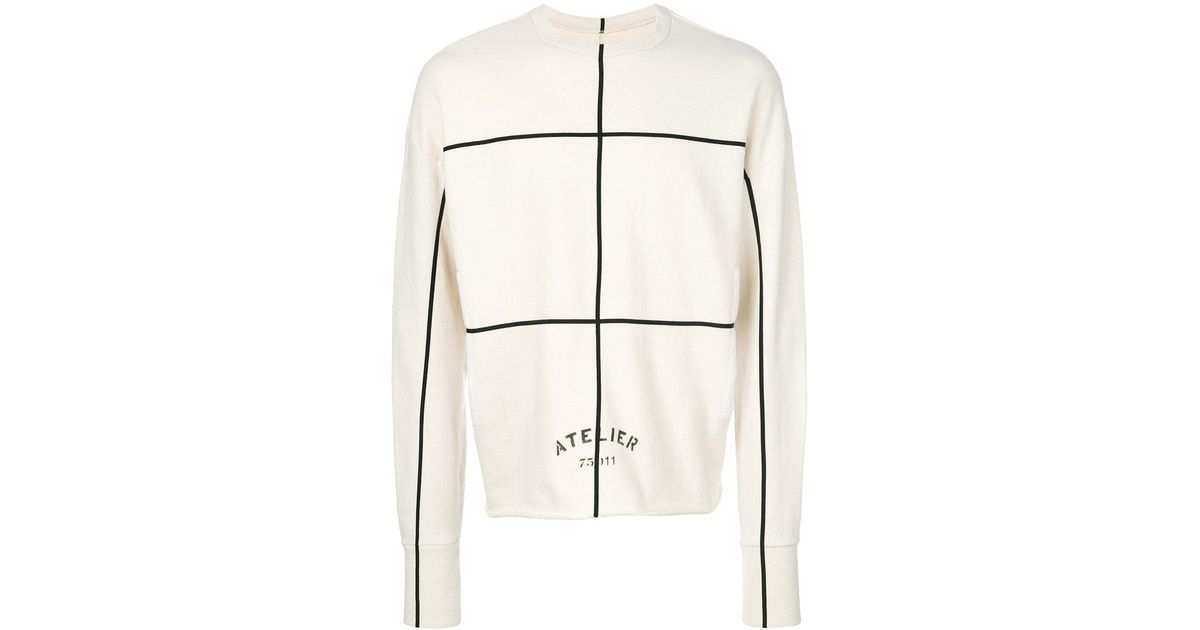 Maison margiela atelier linear print sweatshirt in natural for Atelier swarovski by maison martin margiela