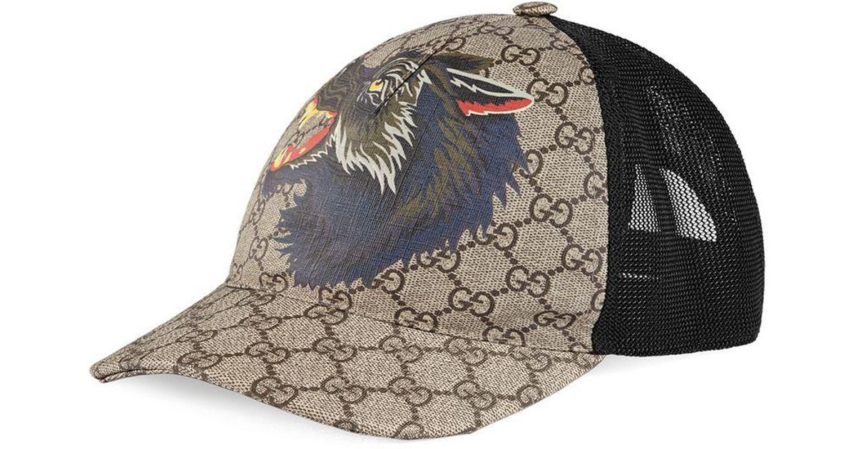 3d3a8ae575b Gucci GG Supreme Wolf Baseball Cap for Men - Lyst