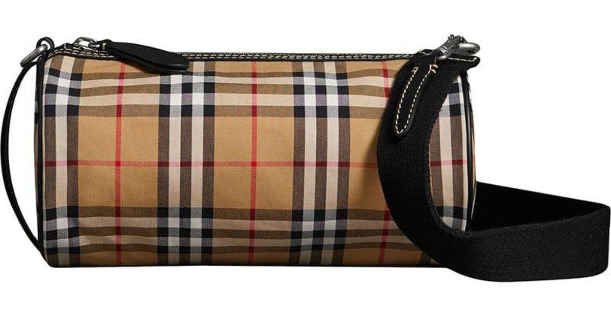Lyst - Burberry Vintage Check Barrel Bag eacb4eccae2a7