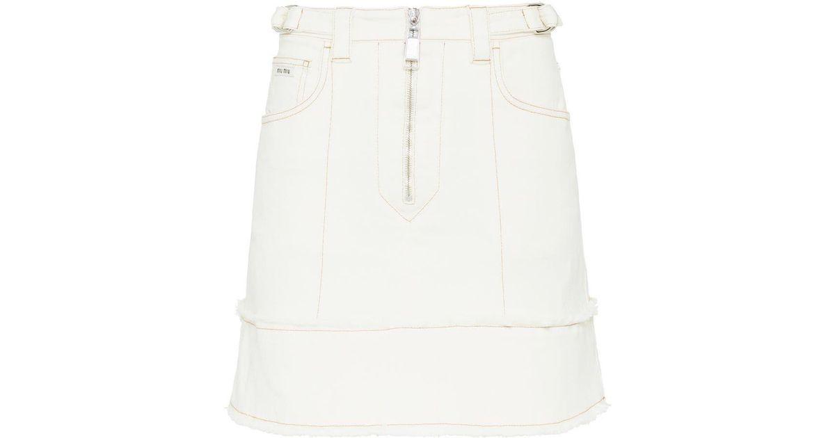 8f5d666c6 Miu Miu Stretch Drill Skirt in White - Lyst