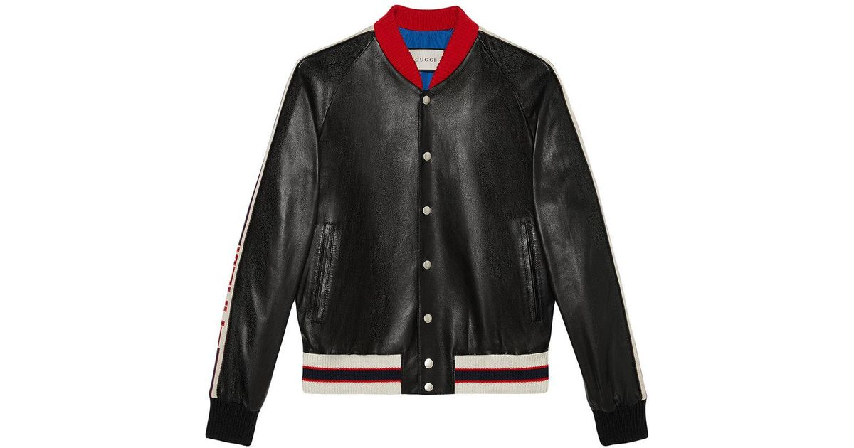 6185e4929 Gucci - Black Leather Bomber Jacket With Appliqué for Men - Lyst