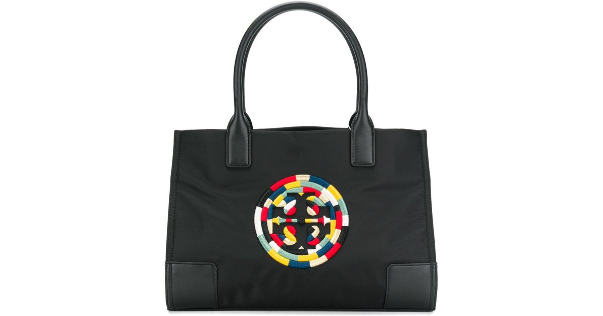 193aeeb1462c Tory Burch Embroidered Logo Tote in Black - Lyst