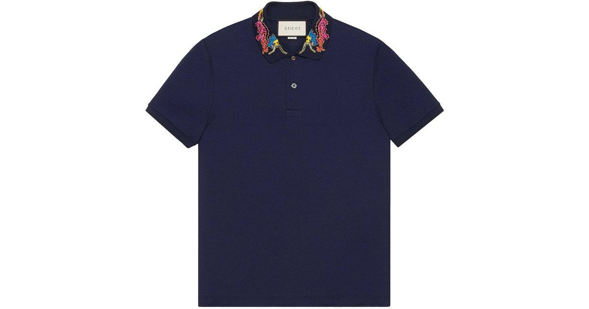 9aef7eb0c14 Lyst - Gucci Dragon Embroidered Collar Polo Shirt in Blue for Men