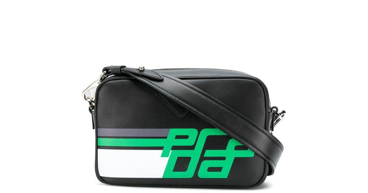 ca6e8a487fe24b Prada Printed Logo Crossbody Bag in Black - Lyst