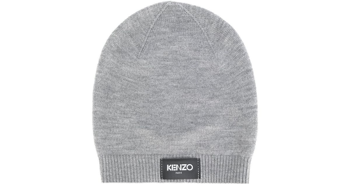 Kenzo Logo Patch Beanie in Gray for Men - Lyst 58147f33acc