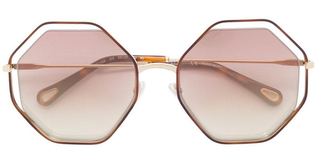 7435a1c3af98 Lyst - Chloé Oversized Hexagon Sunglasses in Metallic