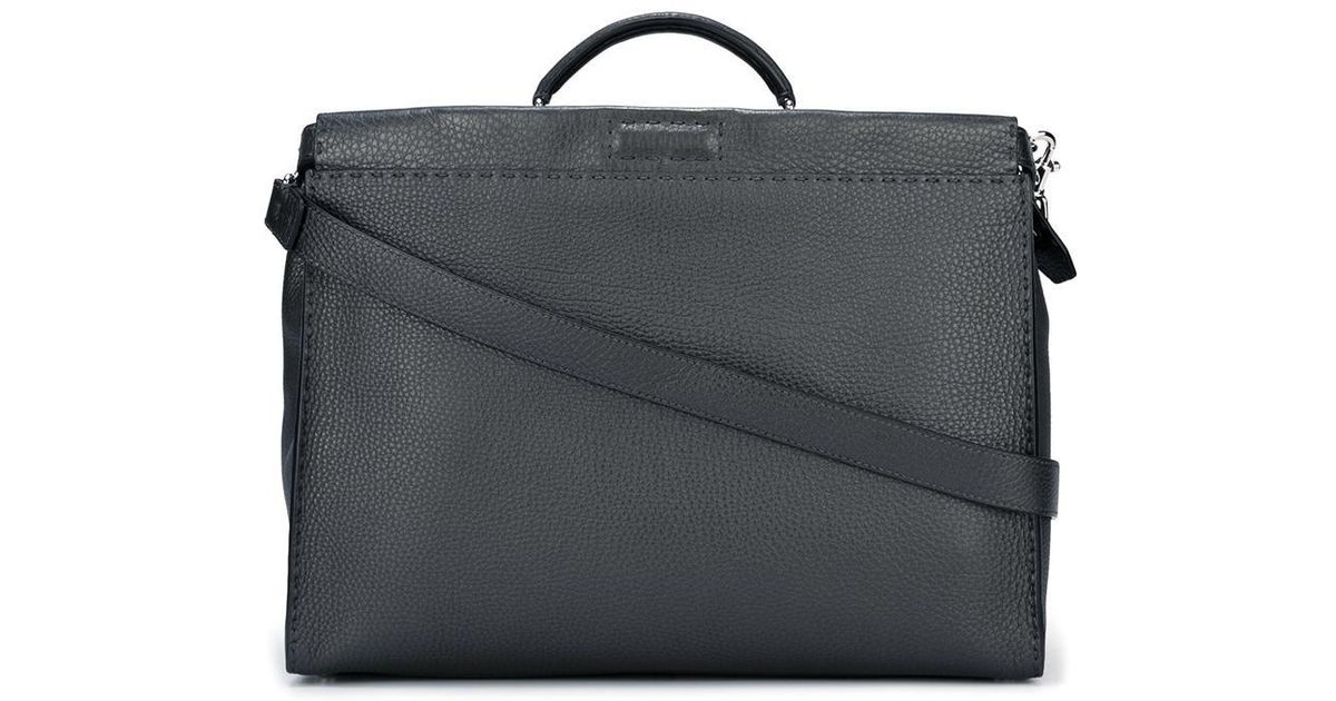 9f5352cde1 ... hot lyst fendi selleria laptop bag in gray for men 5df75 e6ec2 ...