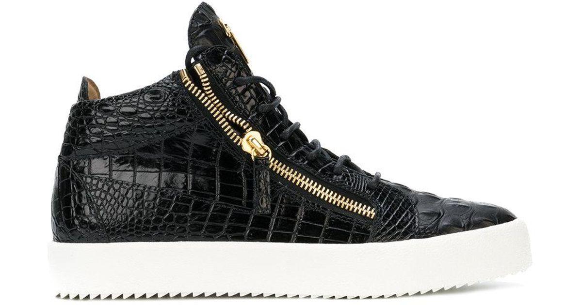 Giuseppe ZanottiCrocodile-embossed mid-top sneaker KRISS oQVRbQR