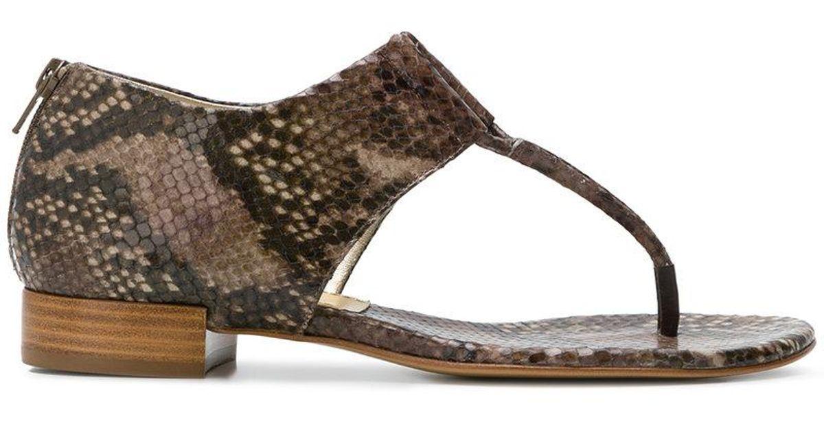 snakeskin effect open toe sandals - Brown Antonio Barbato XcICQMnpU