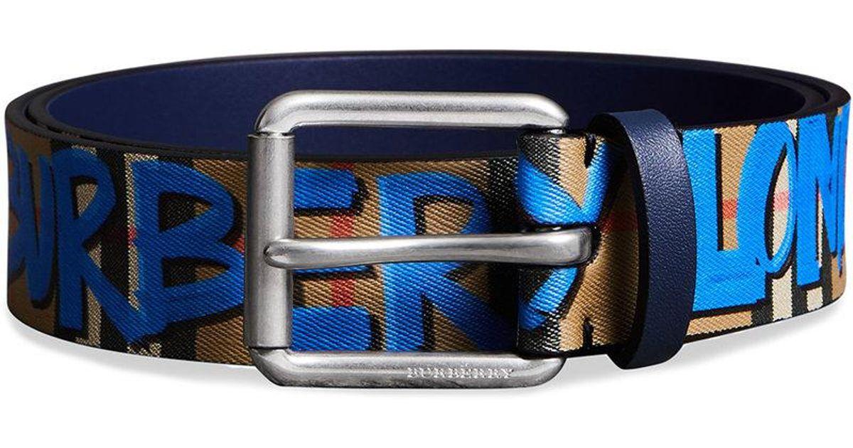 82d1075cf179 Lyst - Burberry Graffiti-print Check Belt in Blue for Men