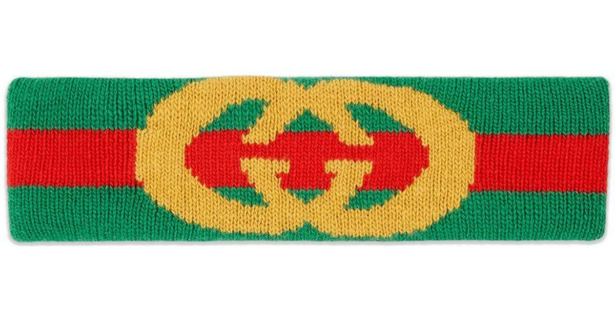 Gucci Web wool headband with Interlocking G - Green hNBzQ