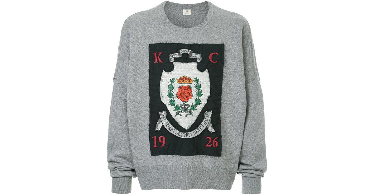 Lyst kent & curwen crest applique patch sweatshirt in gray for men