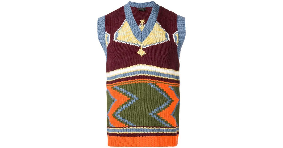 a748d2e03 Lyst - Prada Intarsia V-neck Sweater Vest in Red for Men