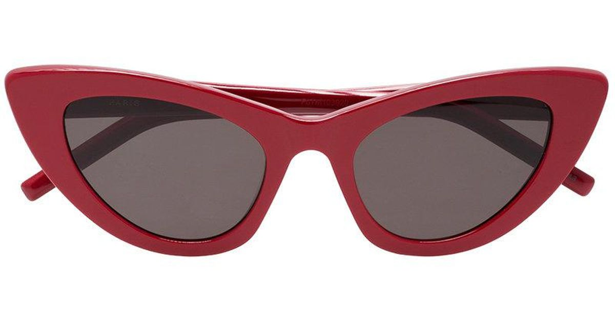 718ea1fc10 Saint Laurent New Wave 213 Lily Cat-eye Sunglasses in Red - Lyst