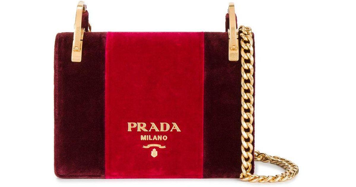 2e64282a8a6caf Lyst - Prada Pattina Velvet Shoulder Bag in Red