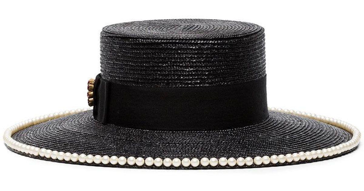 f8cedeef2ad1 Lyst - Gucci Black Pearl Embellished Straw Hat in Black