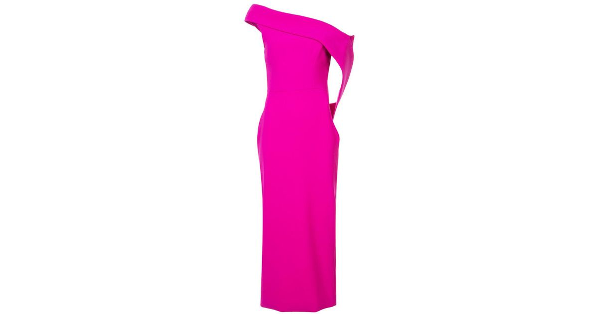 4f6ff73f70805f Lyst - Christian Siriano One-shoulder Midi Shift Dress in Pink