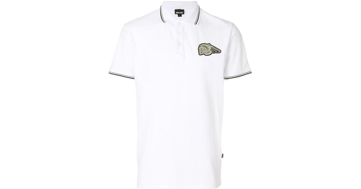 d54dd86f Lyst - Just Cavalli Skull Patch Polo Shirt in White for Men